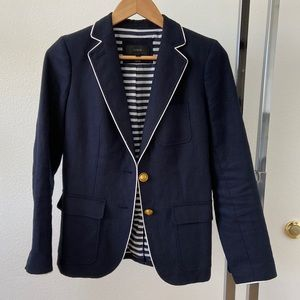 J. Crew Navy Blue Linen Blazer White Trim Jacket